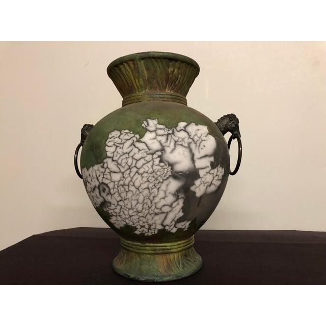Tony Evans Raku Large Vase With Metal Horse Handles For Sale - Image 13 of 13