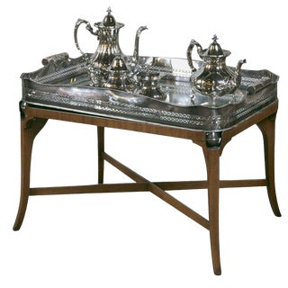 Hollywood Regency Silver Plated Four Tea Service For Sale