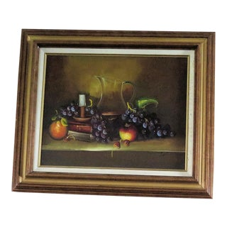 Realistic Oil Still Life of Fruit/Signed, Framed For Sale