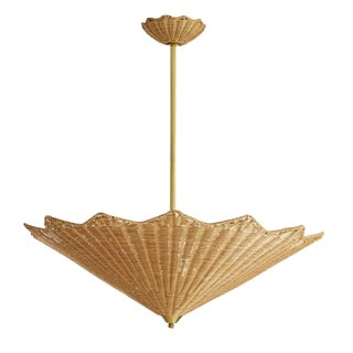 Celerie Kemble for Arteriors Asian Modern Rattan Parasol Pendant/Chandelier For Sale