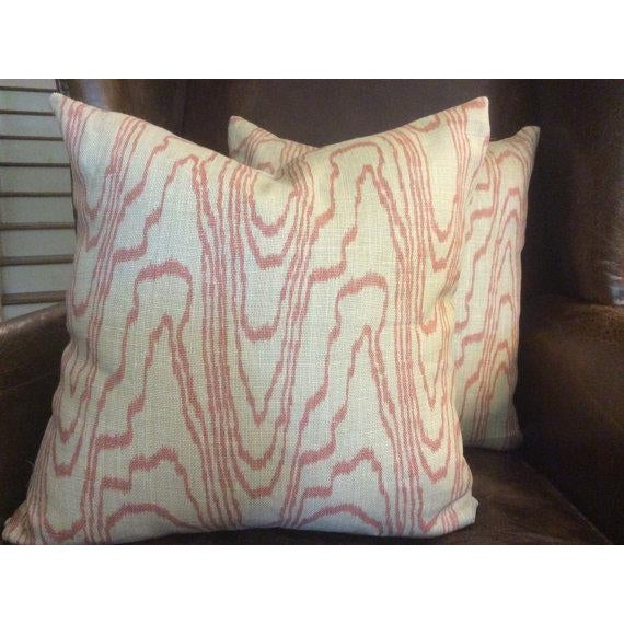 "Lovely swirly ""AGATE"" design in soft salmon from Lee Jofa Groundworks. Pillow covers are fashioned from this plush linen..."