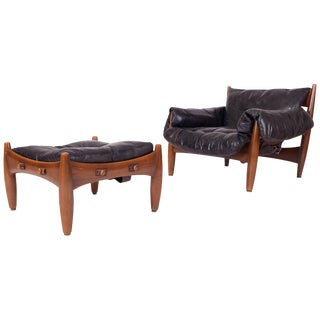 "Sergio Rodrigues ""Sherrif"" Lounge Chair and Ottoman For Sale"