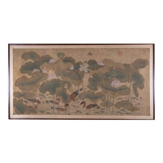 Late 19th Century Antique Lotus & Ducks Chinese Panel Painting For Sale