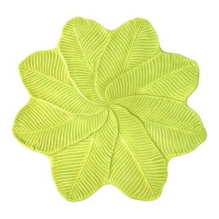 Green Leaves Decorative Ceramic Platter For Sale