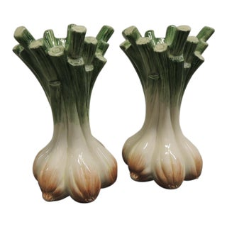 1990's Vintage Hand Painted Ceramic Onion Candleholders- a Pair For Sale