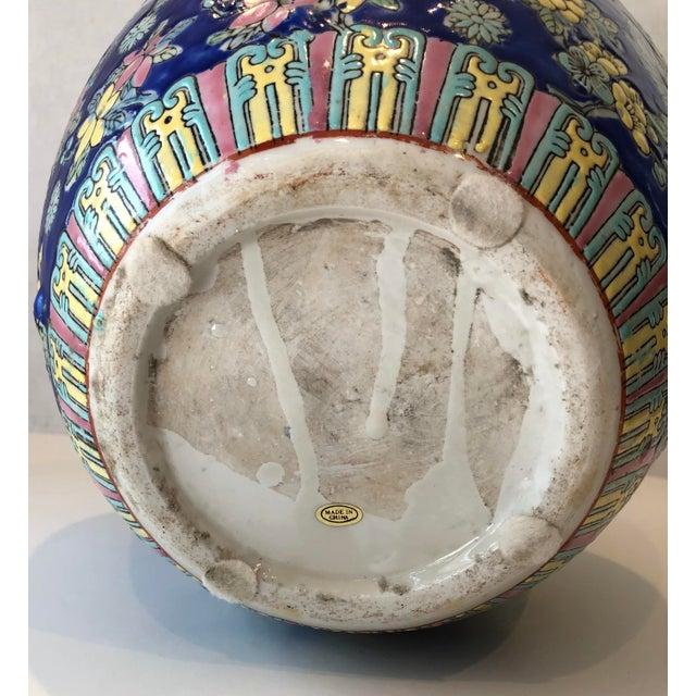 Vintage Blue Chinoiserie Ceramic Vase For Sale - Image 11 of 12