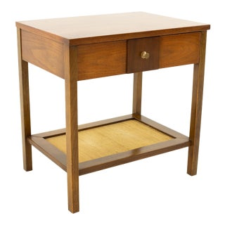 Paul McCobb Style Mid Century Walnut Brass and Grasscloth Nightstand Side End Table For Sale