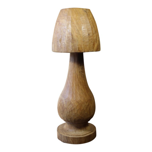 Vintage Wooden Mushroom Form Lamp For Sale