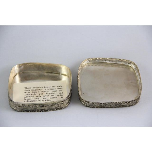 Ornate Silver Antique Porcelain Trinket Boxes - Pair For Sale In New York - Image 6 of 7