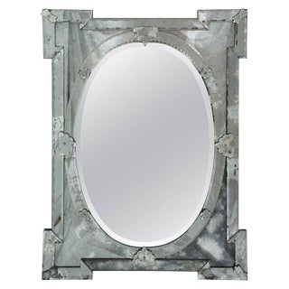 1940's Venetian Mirror With Elegant Shield Form Hand Etched Designs For Sale