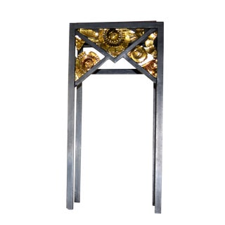 Edgard Brandt Art Deco Style Brass & Iron & Rosewood Table For Sale