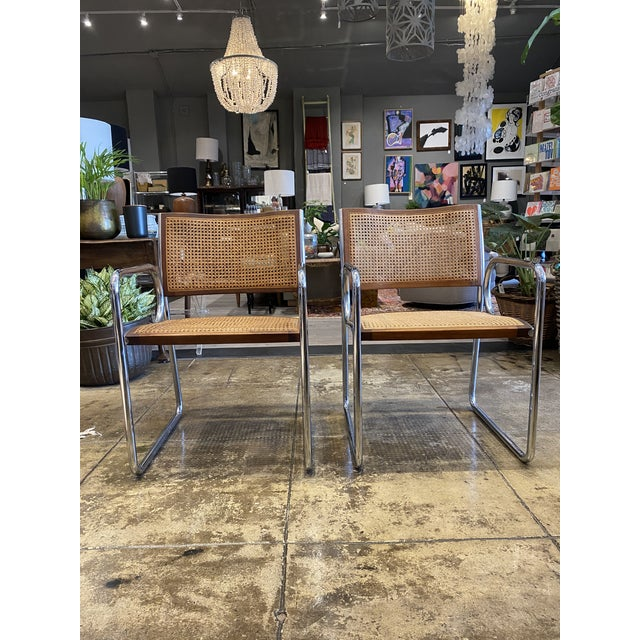 Vintage Chrome and Cane Chairs - a Pair For Sale - Image 9 of 9
