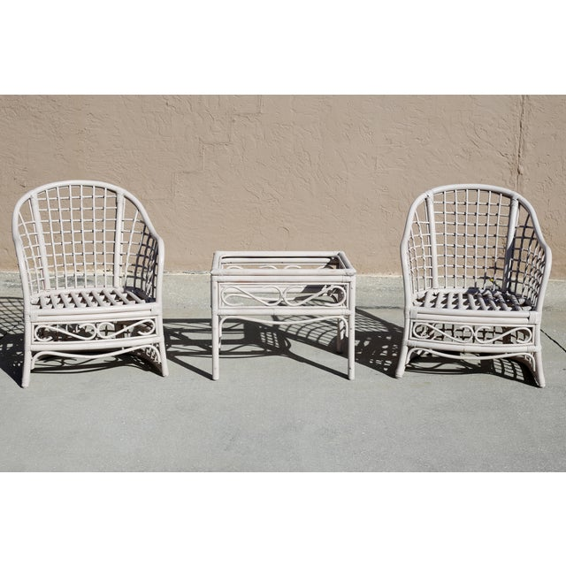 1970s Vintage Rattan Club Chairs and Side Table - Set of 3 For Sale - Image 5 of 10