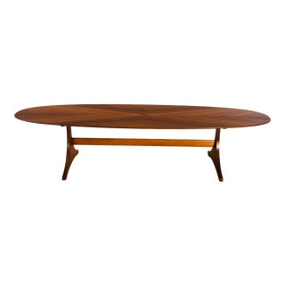 Mid Century Modern 1960s Walnut Wood Surfboard Coffee Table For Sale