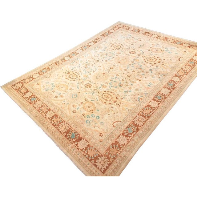 "Textile Kafkaz Peshawar Jasmine Ivory & Brown Wool Rug - 9'11"" x 13'9"" For Sale - Image 7 of 7"