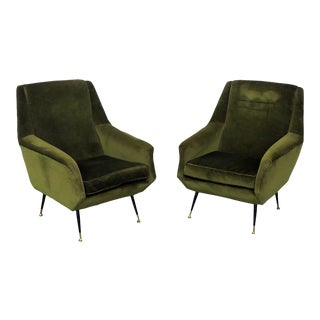 Pair of Italian Modern Lounge Chairs Attr. Carlo De Carli