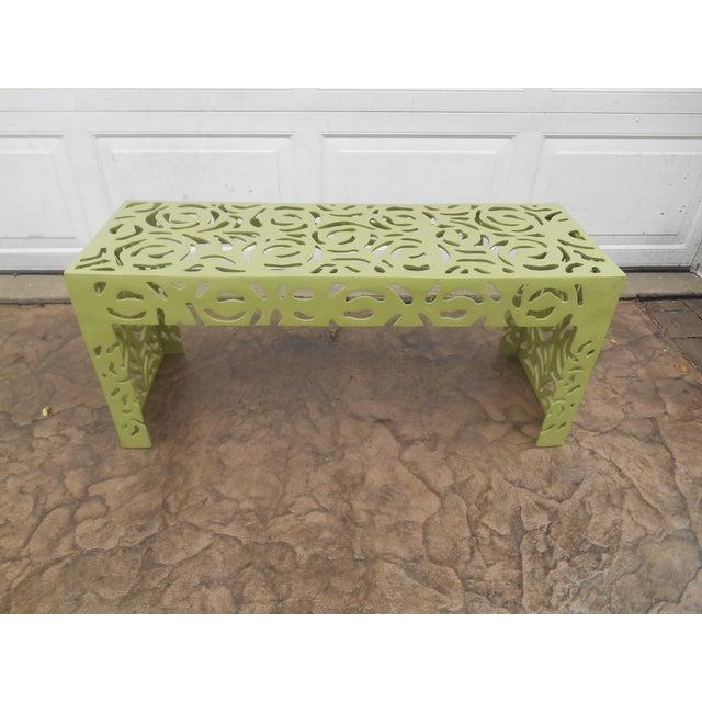 Contemporary Pistachio Iron Patio/Garden Bench For Sale - Image 9 of 9