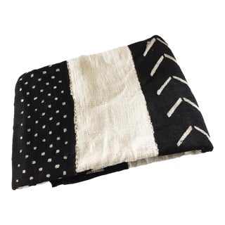 """African Black and White Mud Cloth Textile Mali 42"""" by 60"""" For Sale"""