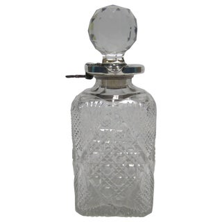 Antique English Sterling Silver and Crystal Liquor Spirits Decanter For Sale