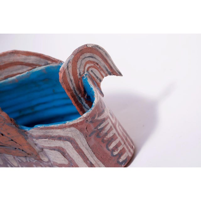 Crude Terracotta Catch-All / Vase With Applied Details Signed For Sale - Image 10 of 13