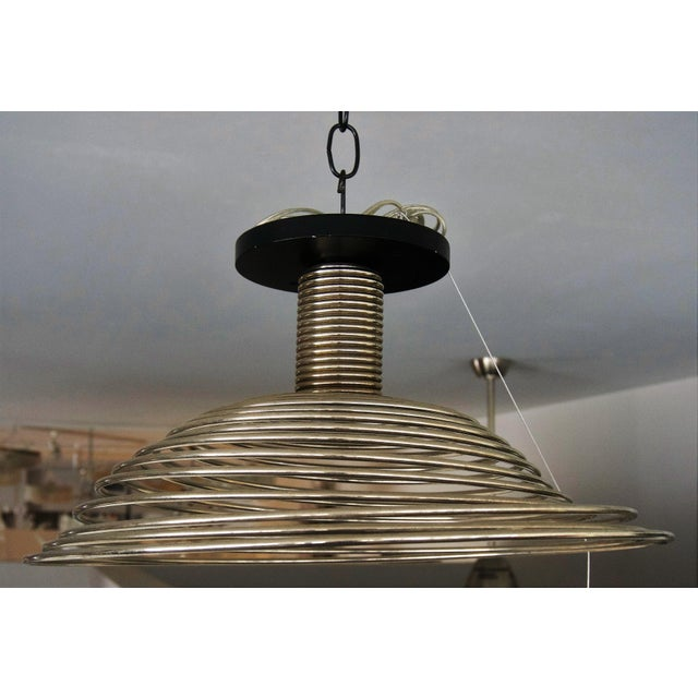 Industrial Spiral Spring Chrome Industrial Style Chandelier by Angelo Mangiarotti For Sale - Image 3 of 13