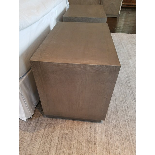 Contemporary Restoration Hardware Herringbone Narrow Nightstands - A Pair For Sale - Image 3 of 6