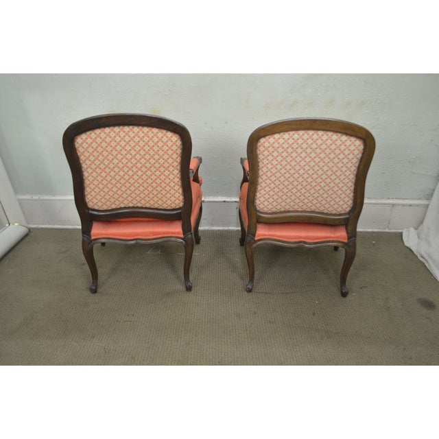 French Louis XV Style Custom Quality Pair of Fauteuils Arm Chairs For Sale - Image 10 of 13