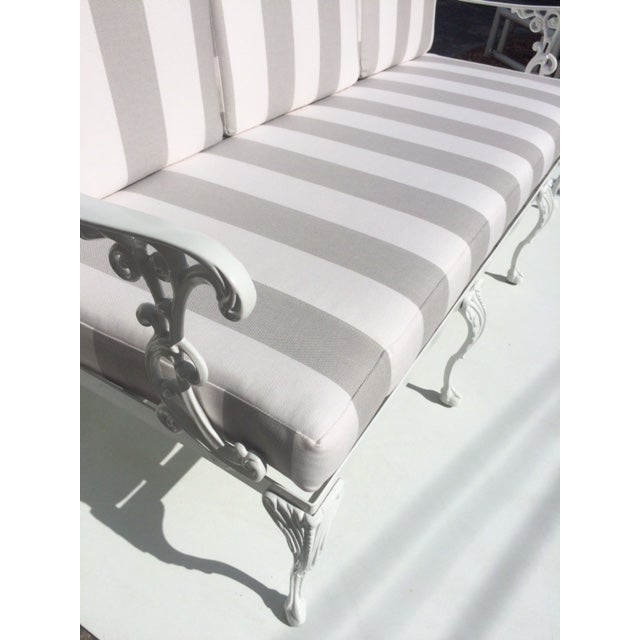 Metal Garden Sofa With Sunbrella Cushions For Sale - Image 10 of 13