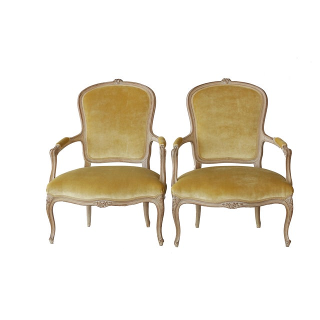 Unique pair of vintage french style bergere chairs completely reupholstered inside and out. We've stripped the chairs down...