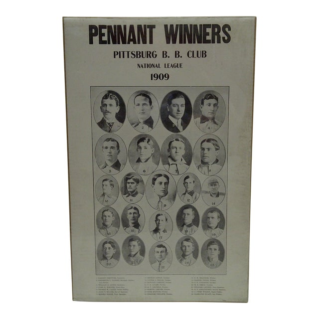 1909 Pennant Winners Pittsburg Baseball Club National League Poster For Sale