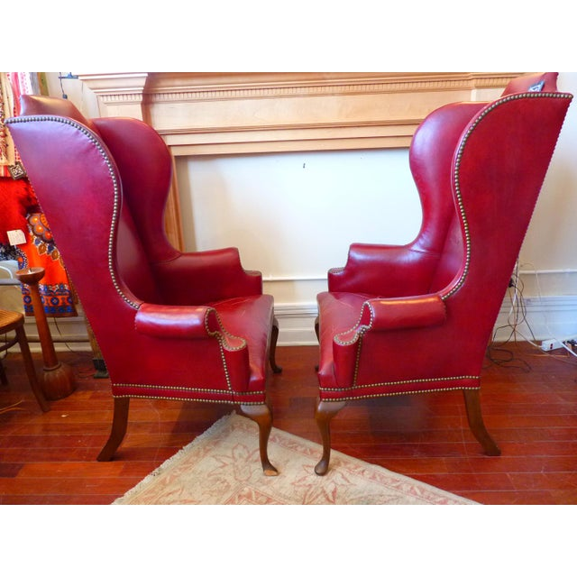 Vintage Red Leather Wingback Chairs With Nailhead Detail and Generous Proportions- Pair For Sale - Image 4 of 13