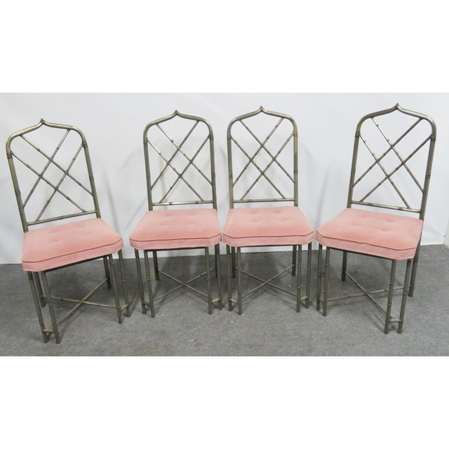 Mid 20th Century Mid Century Brutalist Faux Bamboo Metal Dining Chairs- Set of 4 For Sale - Image 5 of 9