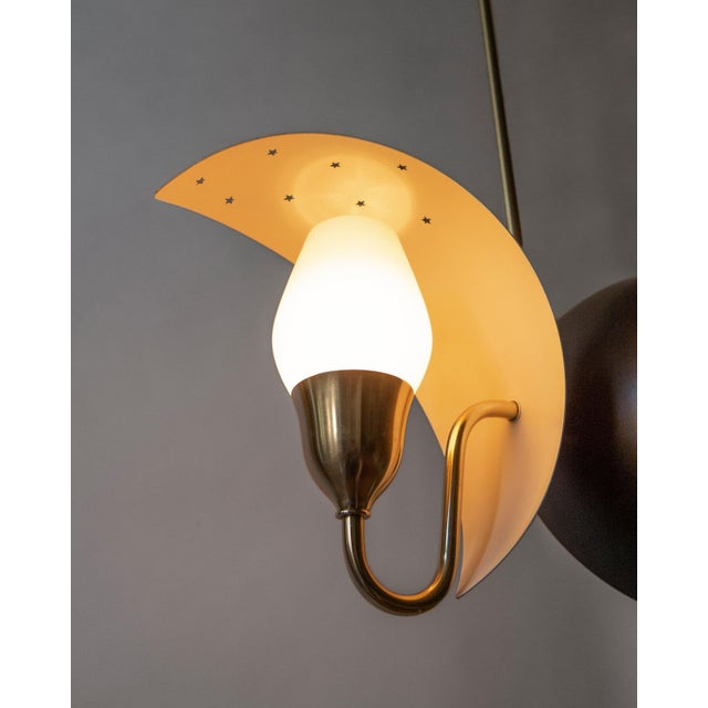 Bent Karlby Fog & Mørup, Danish Black and White Painted, Brass and Glass 2-Arm Chandelier For Sale - Image 4 of 6