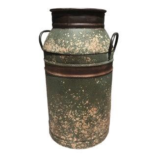 Large Vintage Green Metal Barrel For Sale