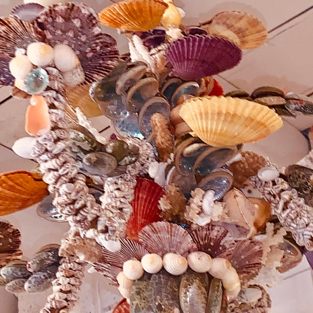 Metal Tiny Rainbow Shell Chandelier For Sale - Image 7 of 9