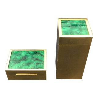 Set of Italian Gilt Brass and Malachite Boxes - a Pair For Sale