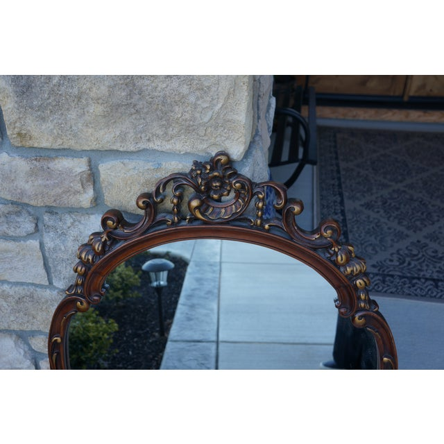 French Provincial Vintage French Provincial Carved Wood Framed Mirror For Sale - Image 3 of 8