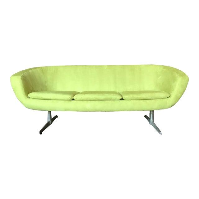 1960s Vintage Lime Green Velvet Overman Pod Sofa For Sale