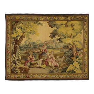 "Antique French Rococo Tapestry Inspired by Francois Boucher Country Romance - 5'2"" X 6'4"" For Sale"