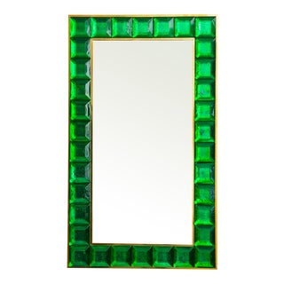Contemporary Green Diamond Murano Glass Mirror For Sale