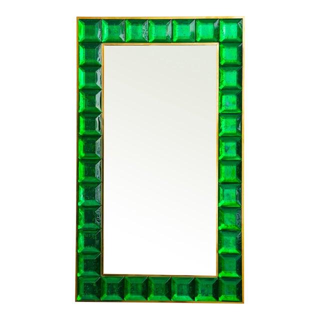 Contemporary Green Diamond Murano Glass Mirror For Sale