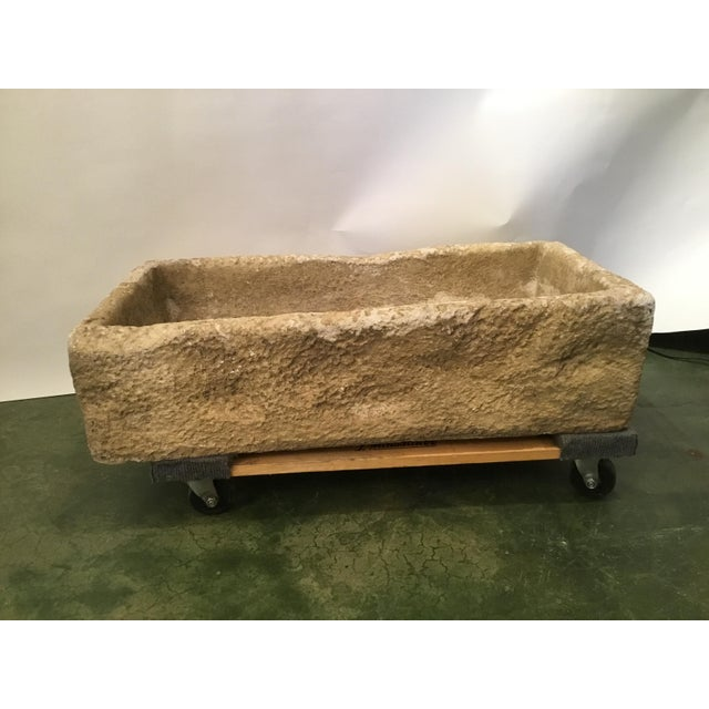 Rustic European Rustic Cast Stone Farm Sink/Planter/Water Feature For Sale - Image 3 of 12