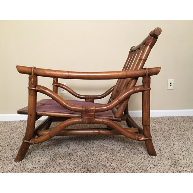 Rattan Mid Century Modern Rattan Lounge Chair & Ottoman For Sale - Image 7 of 13