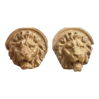 Wall Mounted Lion Heads - A Pair