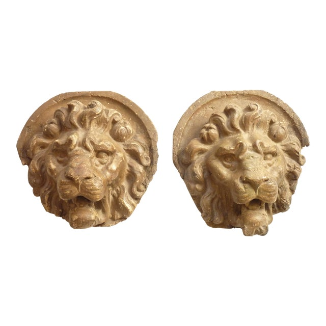 Wall Mounted Lion Heads - A Pair For Sale