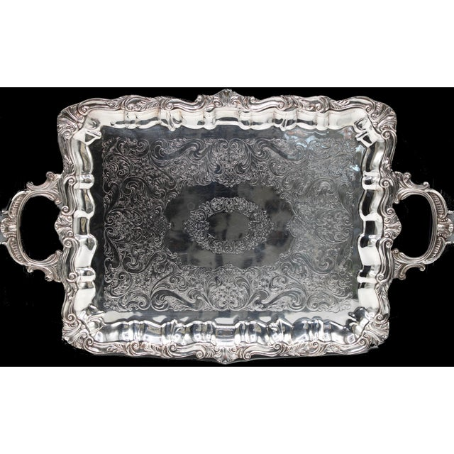 Early 20th Century French Silver Plate Footed Tray With Ornate Scrolls and Engravings For Sale - Image 6 of 7
