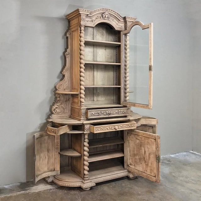 Gray 19th Century Renaissance Stripped Oak Hunt Bookcase For Sale - Image 8 of 13