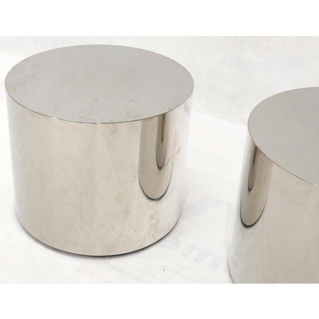 Metal Pair of Chrome Cylinder Side End Tables or Wide Pedestals For Sale - Image 7 of 10