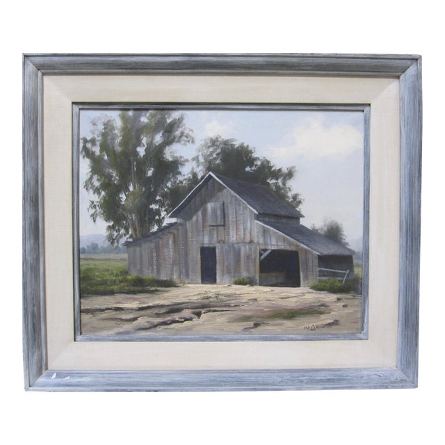 Vintage Barn Painting Signed Original California Landscape Oil For Sale