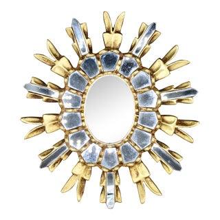 1960s Italian Giltwood Sunburst Mirror For Sale